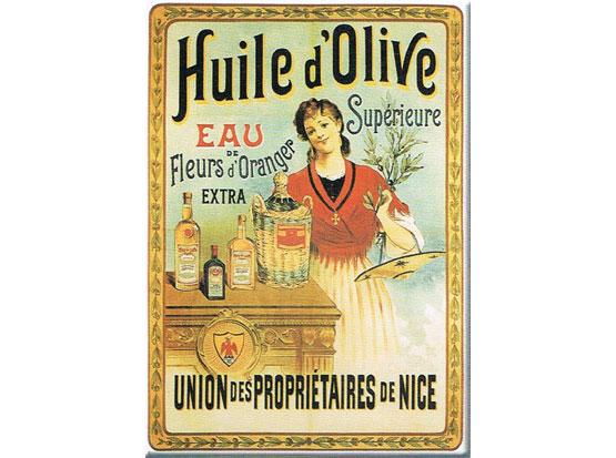 Plechová retro cedule Huile d Olive