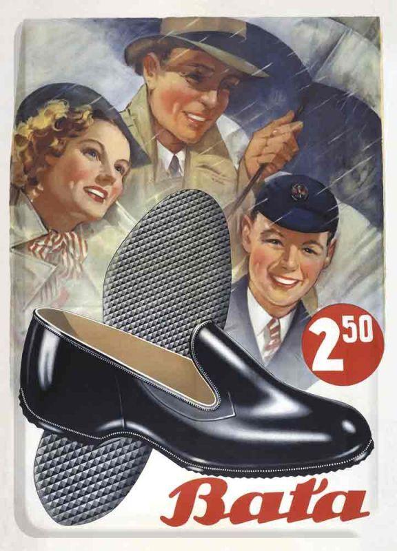 Plechová cedulka Baťa Nabídka bot za 2,50