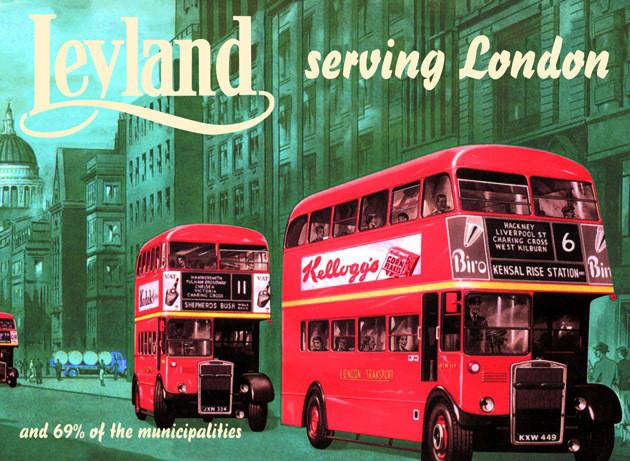 Plechová cedule Leyland Green - autobus London