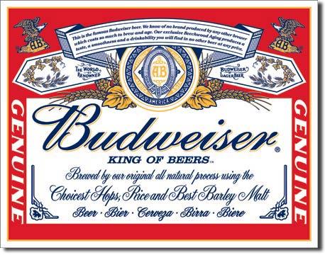 Plechová cedule pivo Budweiser - King of beers -Genuine