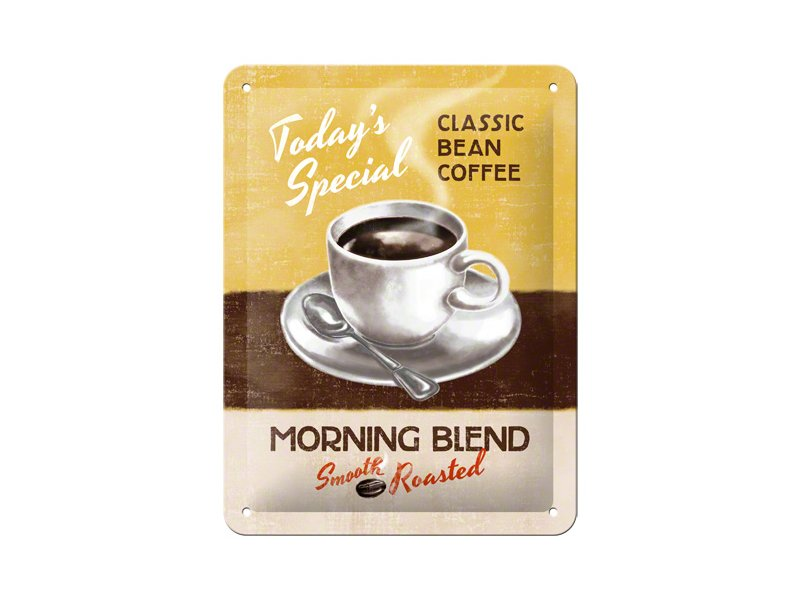 Plechová cedule Classic bean coffee - Morning blend