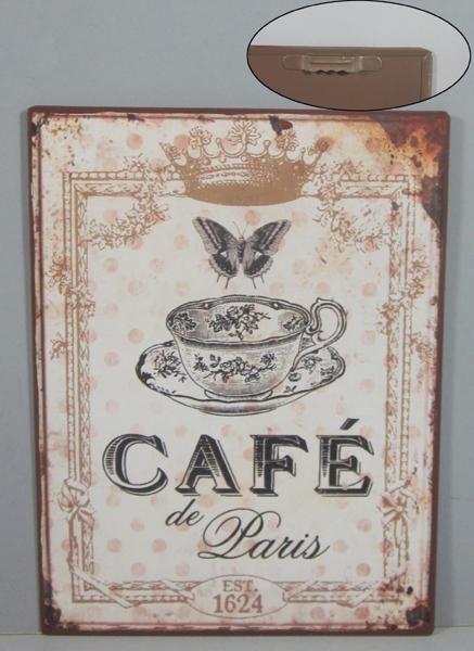 Plechová cedule Café de Paris Motýl