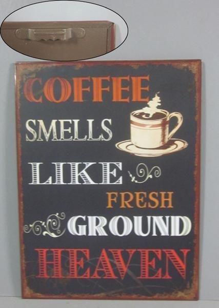 Plechová cedule Coffee smeells-like