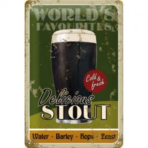 Plechová cedule World's Favorites delicious stout pivo