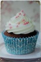 Plechová cedule - Sweet cake - zákusek blue