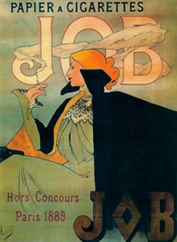Plechová retro cedule Alfons Mucha Job - cigarety