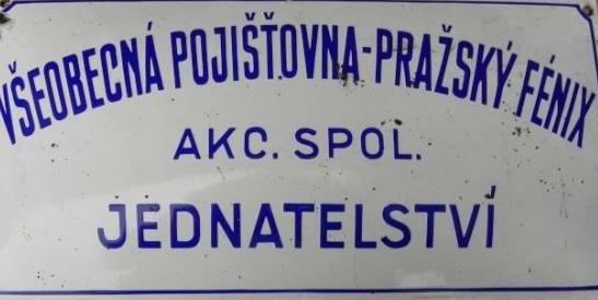Smaltovaná cedule Všeobecná pojišťovna pražský Fénix
