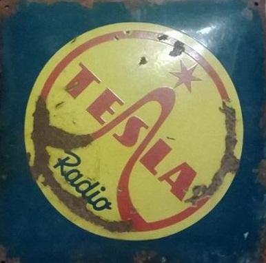 Originální smaltovaná cedule Tesla Rádio