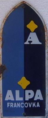 Stará originální cedule Alpa - štítek