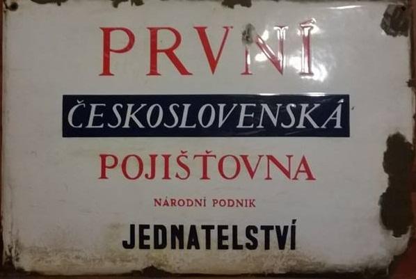 Smaltovaná cedule První Československá pojišťovna