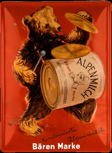 Plechová cedule medvěd Alpen milch