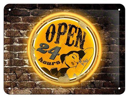 Plechová cedule Open 24 hours
