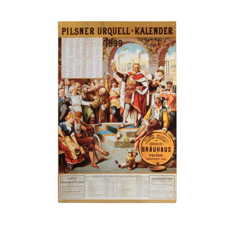 Plechová cedule kalendář Pilsner Urquell 1899