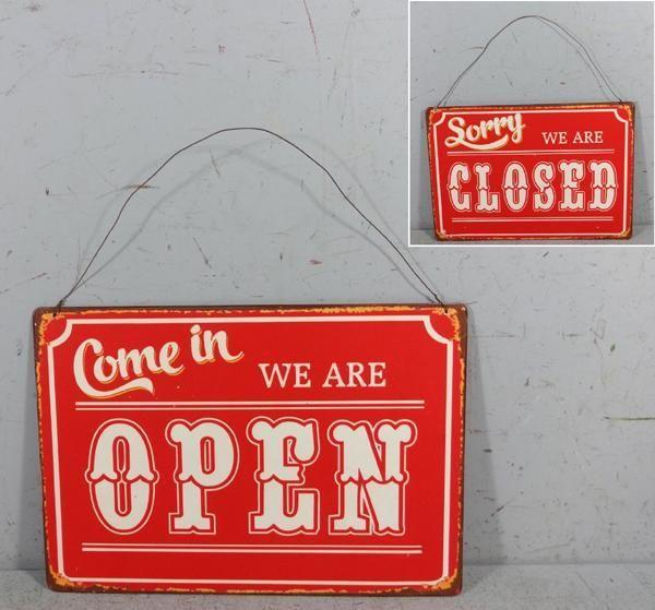 Plechová cedule Open - closed