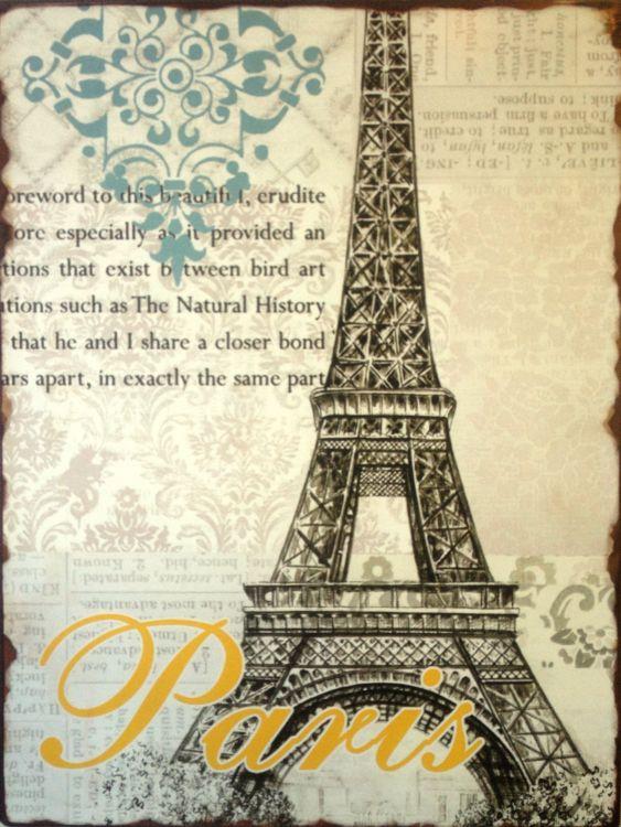 Plechová retro cedule Paris