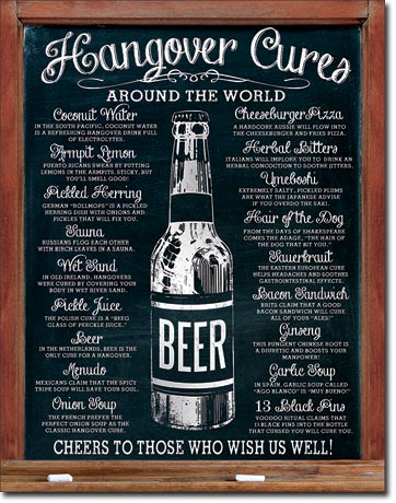 Plechová cedule pivo - Hangover cures beer around the world