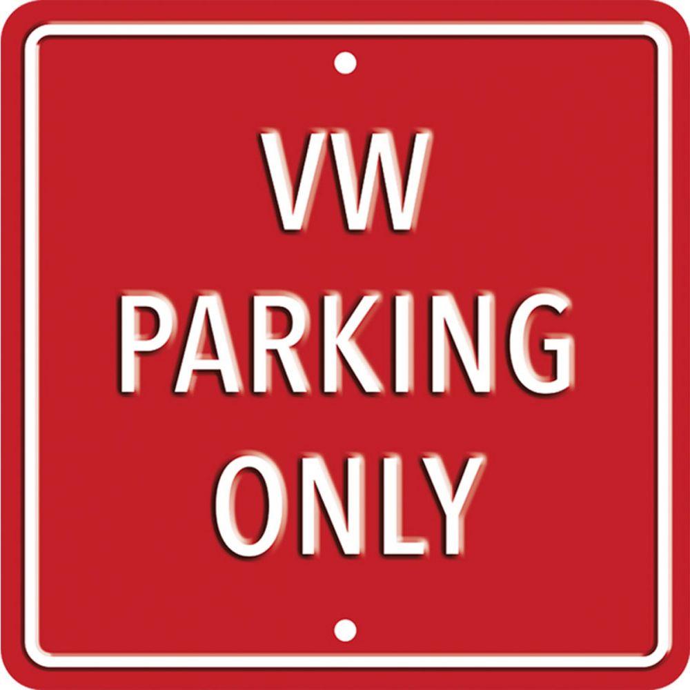 Plechová cedule VW parking only - červená