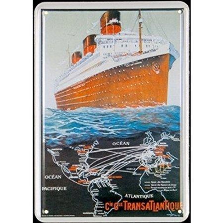 Plechová cedule loď - Transatlantique