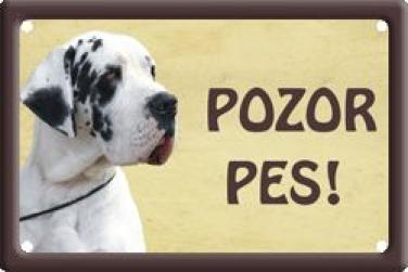Plechová cedulka německá Doga strakatá