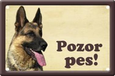 Plechová cedulka Německý ovčák Pozor pes