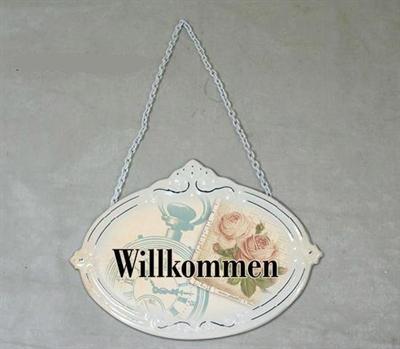 Plechová cedulka na dveře Willkommen - Vítáme Vás