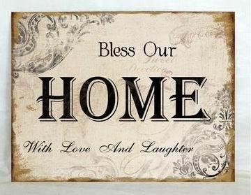 Plechová vintage cedule Bless Our Home - with love and laughter