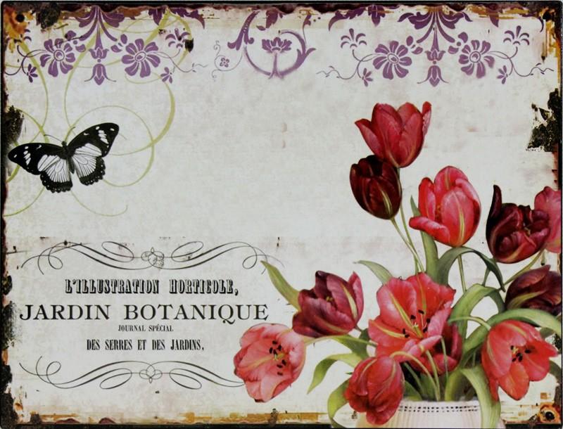 Plechová vintage cedule Tulipány P