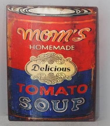 Plechová cedule Homemade - Mom's tomato soup
