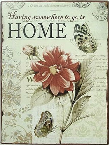 Plechová vintage cedule Home -
