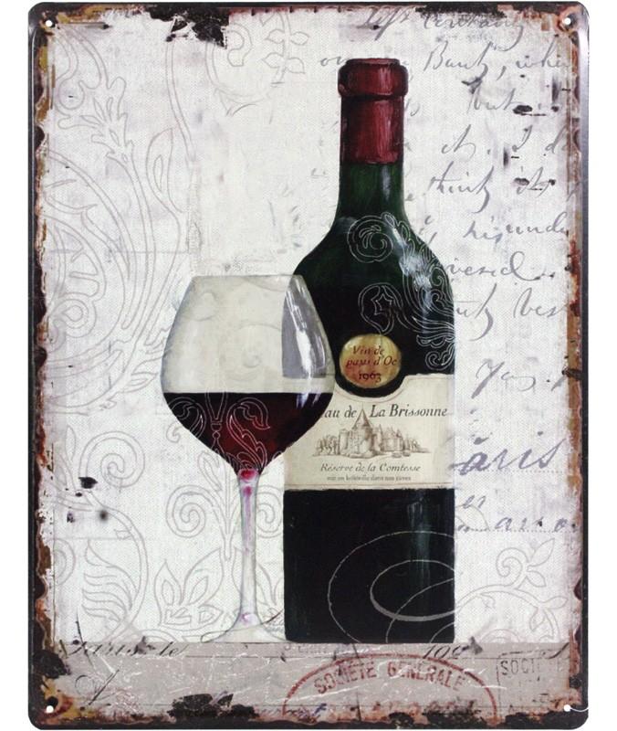 Plechová vintage cedule Červené víno