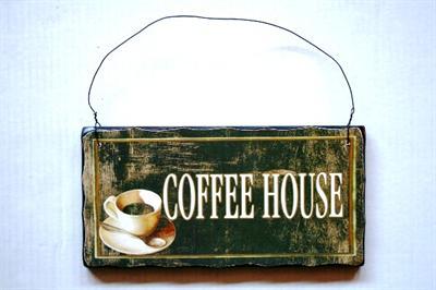 Dřevěná cedule Coffee house poškozené zboží