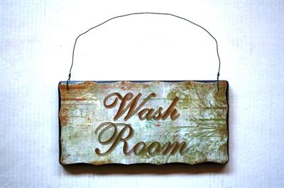 Dřevěná cedule Wash room