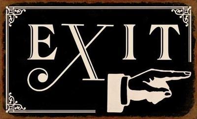 Plechová cedule Exit - ruka
