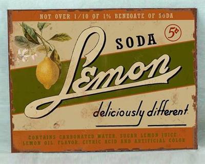 Plechová cedule Soda Lemon poškozeno