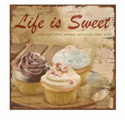Plechová cedule - Cupcake - Life is sweet