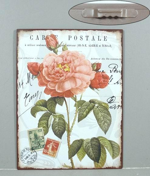 Plechová cedule Carte postale Růže podpisy