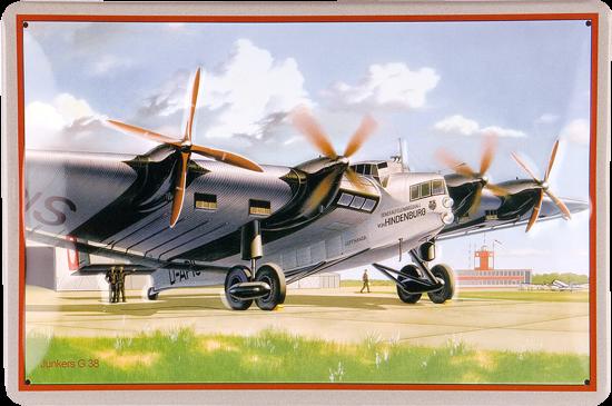 Plechová cedule letadlo Junkers G 38 - Hindenburg S