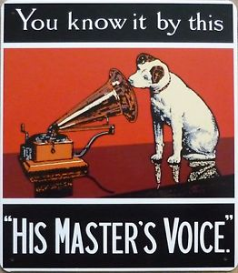 Plechová cedulka His master voice - you know it by this M