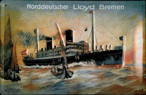 Plechová cedule loď - Norddeutscher Lloyd Bremen