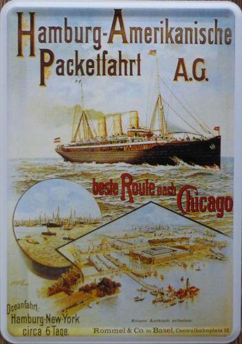 Plechová cedule loď - Hamburg - Amerikanische parketfahrt A.G.
