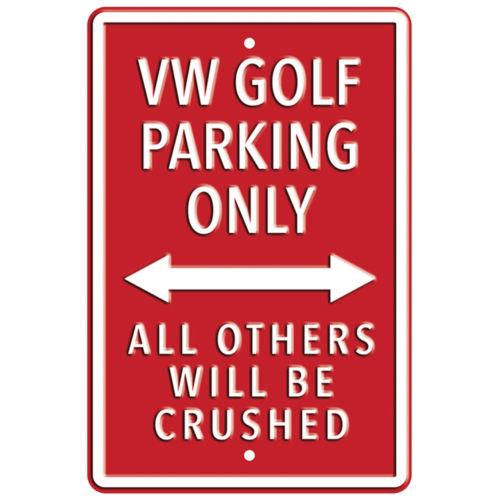 Plechová cedule VW Golf parking only - červená