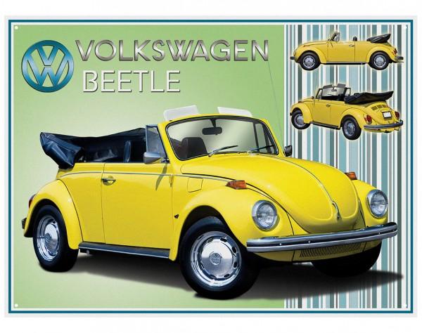 Plechová retro cedule VW Beetle Type 1 - Brouk žlutý
