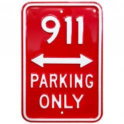 Plechová cedule VW parking only červená