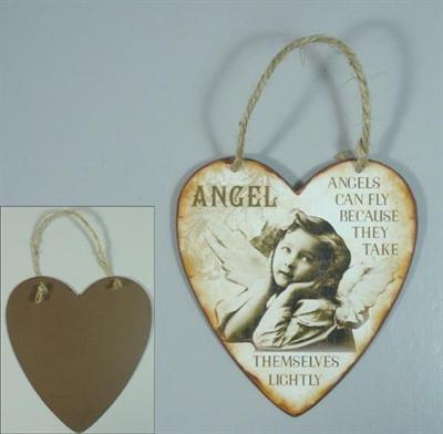 Plechová cedulka Srdíčko - Anděl