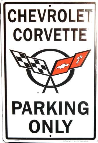 Plechová cedule Chevrolet Corvette parking only