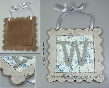 Dřevěná vintage cedule Welcome modrá