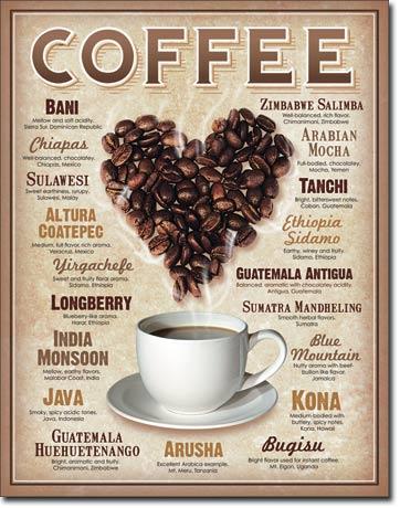 Plechová retro cedule Coffee - Heard - srdce