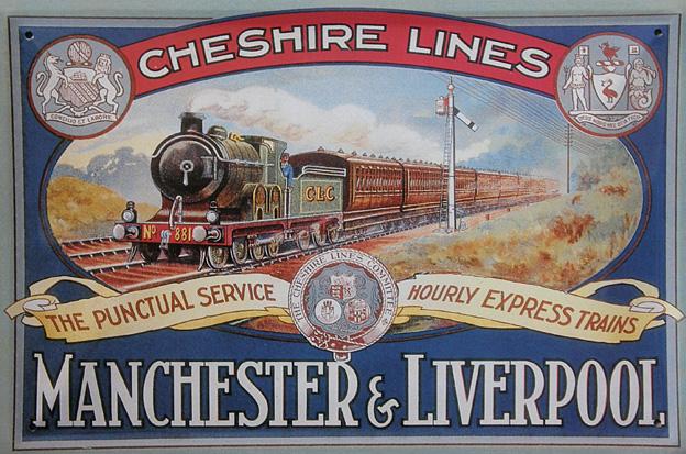 Plechová cedilla Vlak Manchester and Liverpool
