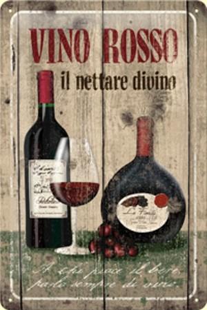 Plechová cedole Víno Rosso