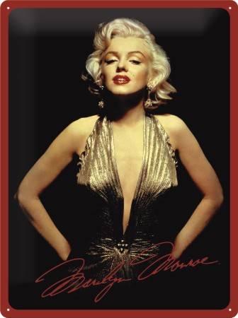 Plechová cedule Marilyn Monroe zlaté šaty